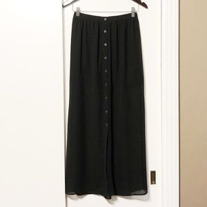 Black Button Down Sheer Maxi Skirt